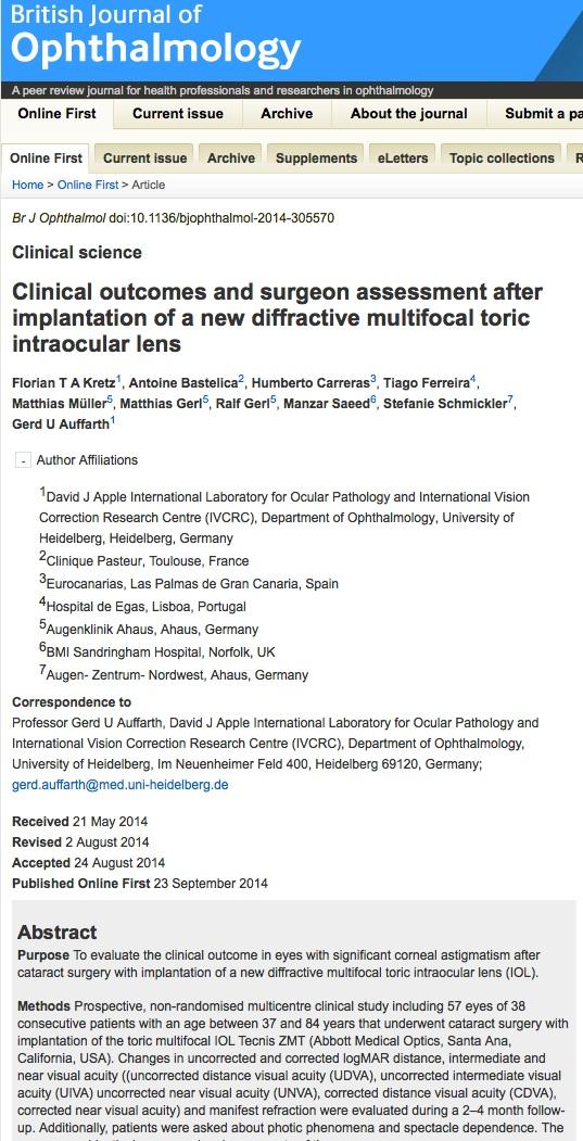 El British Journal of Ophtalmology publica un artículo del Dr. Humberto Carreras